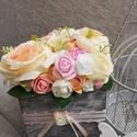 Virágbox pasztell színekben, Anyák napja, Esküvő, Otthon, lakberendezés, Tavaszi pasztell színekben készült virágbox.  A doboz mérete: 13*13 cm. Magassága 11 cm plusz a virá..., Meska