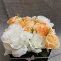 Virágbox narancsos színekben, Anyák napja, Esküvő, Otthon, lakberendezés, Narancsos színekben készült virágbox.  A doboz mérete: 13*13 cm. Magassága 10 cm plusz a virágok mag..., Meska