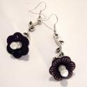 Black White  fülbevaló, Fekete-fehér virág fülgő antik ezüst színű ...