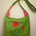 Pipacsos zöld kord táska nyárra, Táska, Válltáska, oldaltáska, Szatyor, pipacsos kord táska, a kedvenc zöld kordomból. Mérete:30 cm széles , és a magassága középen mérve 22..., Meska