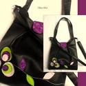 Fekete textilbőr táska