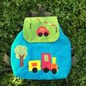 Autós-Vonatos hátizsák, Kordbársonyból készítettem, 30-32 cm magas, 29...
