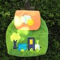 Zöld Vonatos hátizsák, Kordbársonyból készítettem, 30-32 cm magas, 29...