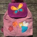Pillangós tündéres gyerekhátizsák, Kordbársonyból készítettem, 30-32 cm magas, 29...