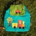 Vonatos autós hátizsák, Kordbársonyból készítettem, 30-32 cm magas, 29...