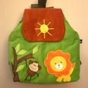 Majmos oroszlános hátizsák, Kordbársony gyerekhátizsák, 30 cm magas. 2-5 é...