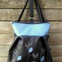 3in1 táska fekete kék pöttyös, Táska, Válltáska, oldaltáska, Szatyor, Textilbőr táska.  kék és fekete színben. 30 cm széles felül, 35 cm magas. Cipzáras. Bélése mintás. B..., Meska
