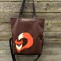 Rókás táska+ neszi rendelhető, Táska, Válltáska, oldaltáska, Neszesszer, Textilbőr táska. 34 cm széles felül, 38 cm magas. Cipzáras. Belül van egy 2 részre osztott zseb, és ..., Meska