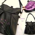 Levendulás fekete hátizsák rendelhető, Textilbőr többfunkciós táska. Ajándék papír...