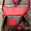 Pipacsos hátizsák rendelhető, Textilbőr többfunkciós táska. Ajándék papír...