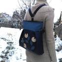 Tulipános kék 3in1 hátizsák, Táska, Válltáska, oldaltáska, Hátizsák, Textilbőr többfunkciós táska.  30 cm széles felül, 35 cm magas. Cipzáras. Belül van egy 2 részre osz..., Meska