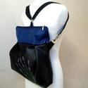 Levendulás kék fekete 3in1 hátizsák, Táska, Válltáska, oldaltáska, Hátizsák, Textilbőr többfunkciós táska.  30 cm széles felül, 35 cm magas. Cipzáras. Belül van egy 2 részre osz..., Meska