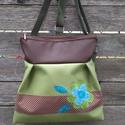 Zöld-barna 3in1 hátizsák rendelhető, Textilbőr többfunkciós táska. Ajándék papír...