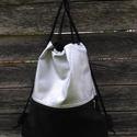 """Ezüst fekete hátizsák rendelhető, Rendelésre készülő tornazsák, """"gymbag"""". 50 cm..."""