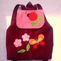 Katicás  bordó hátizsák rendelhető, Kordbársony puha gyerekhátizsák, 30 cm magas. 2...