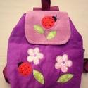 Katicás lila hátizsák rendelhető, Kordbársony puha gyerekhátizsák, 30 cm magas. 2...