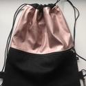 Lazac fekete hátizsák, Textilbőr és vászon anyagból készítettem. Be...