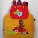 Autós hátizsák, Táska, Baba-mama-gyerek, Hátizsák, Baba-mama kellék, Gyerekhátizsák, 30 cm magas. 2-5 éves gyerekeknek ajánlom. Fedlapja mágneskapcsos, Belül tépőzárral ..., Meska
