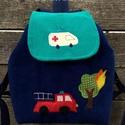 Tűzoltós hátizsák, Kordbársony gyerekhátizsák, 30 cm magas. 2-5 é...