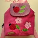 Katicás virágos hátizsák, Kordbársony gyerekhátizsák, 30 cm magas. 2-5 é...