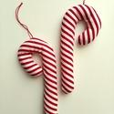 Cukorpálca karácsonyfadísz, 14 cm magas textildísz. Cukorpálca alakú, puha ...