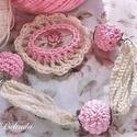 Vintage  szett - horgolt bogyóval, kaboson rózsával, Nagyon vintage, nagyon rózsaszín, nagyon nőcis ...