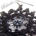 Blacky - gyöngyös-horgolt fülbevaló, Romantikus fülbevaló, a vintage sötét oldala. ...