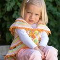 Horgolt körmellény kicsiknek, 2-3 éves kislánynak való, horgolt boleró vidá...