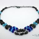 Hanna - 3 soros chainmaille nyaklánc kék üveggyöngyökkel, Ékszer, Nyaklánc, Fekete bevonatos nikkelmentes karikák  összefűzésével (chainmaille technikával) készítettem,..., Meska