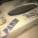 Papírzsepi tartó, Otthon, lakberendezés, Tárolóeszköz, Doboz, Decoupage, transzfer és szalvétatechnika, Famegmunkálás,  Rétegelt fából készült papírzsepi tartó, aminek az alja kihúzható, hogy a dobozos zsepit bele tudd..., Meska