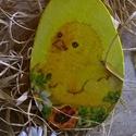 fa tojás, Húsvéti apróságok, Famegmunkálás, Decoupage, transzfer és szalvétatechnika, Rétegelt fából vágtam ki a mintát. Rendhagyó módon ételfestékkel festettem mindkét oldalát, citroms..., Meska