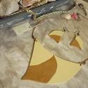 Arany  ragyogás,  ékszer szett, Ékszer, Ékszerszett, Fülbevaló, Nyaklánc, Préselt fából vágtam ki az egyedileg tervezett mintákat és akril festékkel festettem,  sárgára és ar..., Meska
