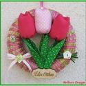 Tavaszi, nyári, húsvéti ajtódísz, kopogtató - tulipános, Baba-mama-gyerek, Dekoráció, Otthon, lakberendezés, Ünnepi dekoráció, Varrás, Mindenmás, Cuki tavaszi, nyári színes tulipános ajtódísz vagy kopogtató.  Pink és rózsaszín pöttyös pamutvászo..., Meska