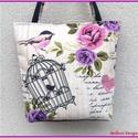 Kalitkás - madárkás nagy pakolós táska - fekete, Táska, Ruha, divat, cipő, Válltáska, oldaltáska, Varrás, Egyedi, saját tervezésű és készítésű válltáska.  Romantikus hangulatú táska örök romantikusoknak te..., Meska