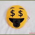 Emoji párna - dollár jeles, Baba-mama-gyerek, Otthon, lakberendezés, Lakástextil, Párna, Varrás, Pihe - puha ölelgetni való kerek párnácska.  Sárga színű puha polár anyagból készült, igényesen eld..., Meska