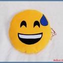 Emoji párna - nevetős, Baba-mama-gyerek, Otthon, lakberendezés, Lakástextil, Párna, Varrás, Pihe - puha ölelgetni való kerek párnácska.  Sárga színű puha polár anyagból készült, igényesen eld..., Meska