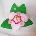 Textil virág kitűzővel kislányoknak - rózsaszín pöttyös, Baba-mama-gyerek, Dekoráció, Csokor, Egyedi elképzelés alapján készült textil virág csokor, közepén egy levehető kitűzővel.  K..., Meska