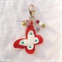 Piros pillangós - védelmező, szerencsét hozó kulcstartó- vagy táskadísz - achát/hegyikristály/jáde, Dekoráció, Mindenmás, Kulcstartó, A karabíner segítségével díszítheted vele a kulcscsomódat vagy kedvenc táskádat. Rózsa ach..., Meska