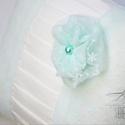 Menta csipkés gyűrűpárna, Esküvő, Egyéb, Menyasszonyi ruha, Nászajándék, Egyedi tervezésű gyűrűpárnánk menta színű necc és krém  taft  kombinációjából született, kifejezette..., Meska