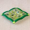 Zöldelő tál, Dekoráció, Otthon, lakberendezés, Dísz, Gyertya, mécses, gyertyatartó, Üvegművészet, Fusing rogyasztásos technikával készült üvegtálka, tavaszváró friss, üde zöld színekkel.. Használha..., Meska