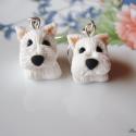 Westi kutyus-fülbevaló, Ékszer, Fülbevaló, West Highland White terrier kedvelőknek készítettem ezt a fülbevalót. Aprólékosan kidolgozott bundáv..., Meska