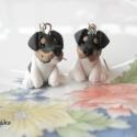 Jack Russel Terrier  fülbevaló, Ékszer, Fülbevaló, Kis Jack Russel Terriereket készítettem. Nikkelmentes fülbevaló alapra szereltem.  Ha más színben sz..., Meska
