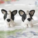 Francia Bulldog  fülbevaló, Ékszer, Fülbevaló, Gyurma, Kicsi Francia Bulldog kutyusokat készítettem.Nikkelmentes fülbevaló alapra szereltem.  Ha más színb..., Meska