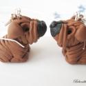 Shar-pei kutyusok-fülbevaló, Ékszer, Fülbevaló, Kicsi Shar-pei kutyusokat készítettem. Nikkelmentes fülbevaló alapra szereltem. Kérheted medálként i..., Meska