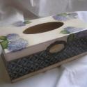 Hortenziás papírzsebkendő tartó, Elegáns hangulatú papírzsebkendő tartó csodas...