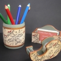 Madaras íróasztali szett, Elegáns, kissé antik hatású, indás-madaras í...