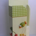 Madár és cseresznye - zsebkendőtartó Babi12 részére, Babi12 számára készítettem ezt a festett, szal...