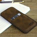 iPhone 7 / 8 telefontok kártyatartóval - rusztikus barna, Táska, Férfiaknak, Pénztárca, tok, tárca, Mobiltok, Bőrművesség, iPhone 7 / 8 telefontok kártyatartóval, ami tökéletesen illeszkedik a készülékhez. Prémium minőségű..., Meska