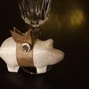 Újévi vintage szerencsemalac, szilveszteri szerencsehozó malac, vintage újévi asztali dísz, szilveszteri vintage ajándék, Igazi 1960-as évekbeli ezüst anyagból varrtam e...