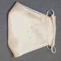 Alkalmi strasszköves maszk, fehér selyem maszk, 2 rétegű textil arcmaszk, Törtfehér maszk egyik oldalán apró csillogó g...